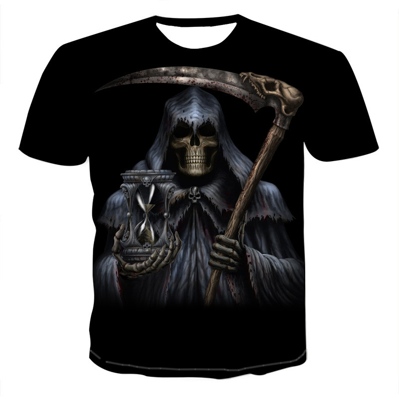 Summer Men T-shirts Casual O-neck Short Sleeve Tee Tops Hip Hop Style Clothes Fashion Streetwear Skull 3D T Shirt Male 3