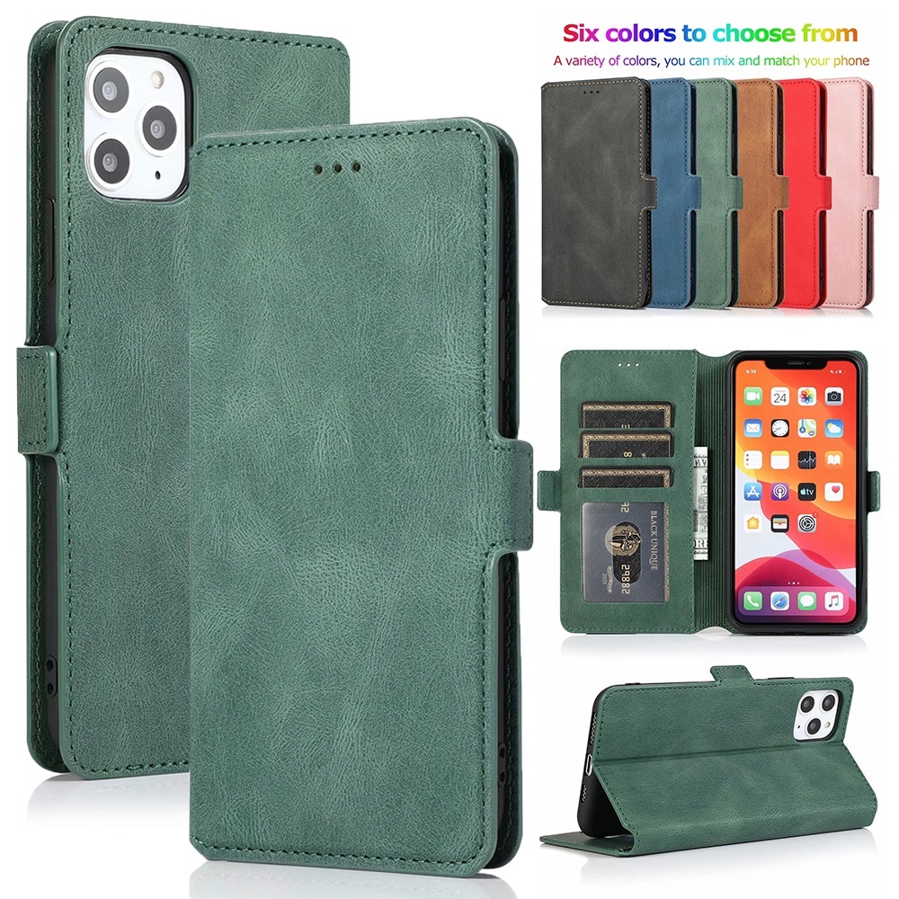 Ultra Thin Leather Flip Cover Wallet Case for iPhone 11 Pro XS Max XR X 8 7 6s 6 Plus 5 5S SE 2020 Card Slots Folio Coque Stand
