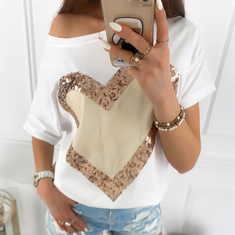 Sequined Heart Print Plus Size Women Clothing Summer Short Sleeve T-shirt Ladies Harajuku Casual Loose Fashion Tops Tee SJ6301M
