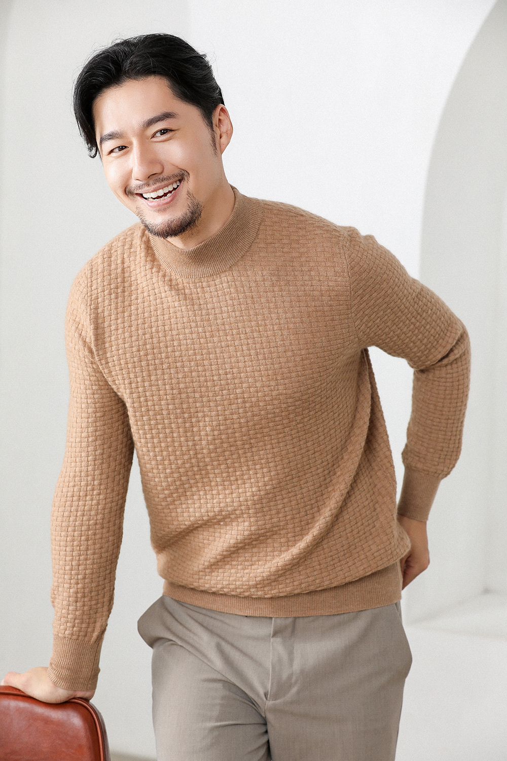 Cashmere Sweater Men's Young And Middle-aged Business Sweater Size Men's Casual Business Attire Padded Knit Base Shirt
