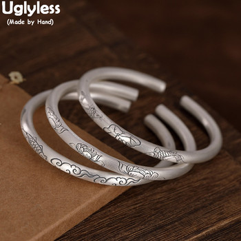 Uglyless Solid 999 Pure Silver 5MM Thick Bangles for Women Ethnic Lotus Fishes Cloud Open Bangles Adjustable Vintage Dress Jewel