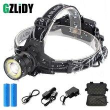 цена на Super bright LED headlamp 4 light mode T6 + COB headlight waterproof rotating zoom fishing camping headlight use 2*18650 battery