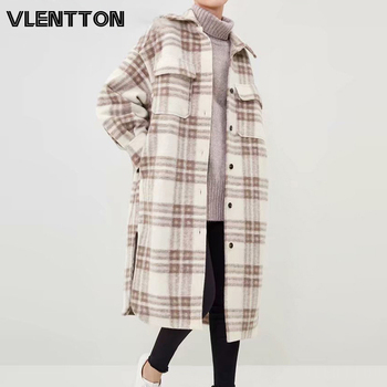 New Autumn Winter Women Vintage Plaid Shirt Wool Coat Casual Sashes Jacket Outwear Female Loose Long Overcoat Ladies 1
