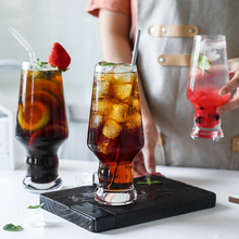 Creative Glass Cold Drinking Cup Household Water High Foot Juice Milk Tea Dessert Large Capacity Beer