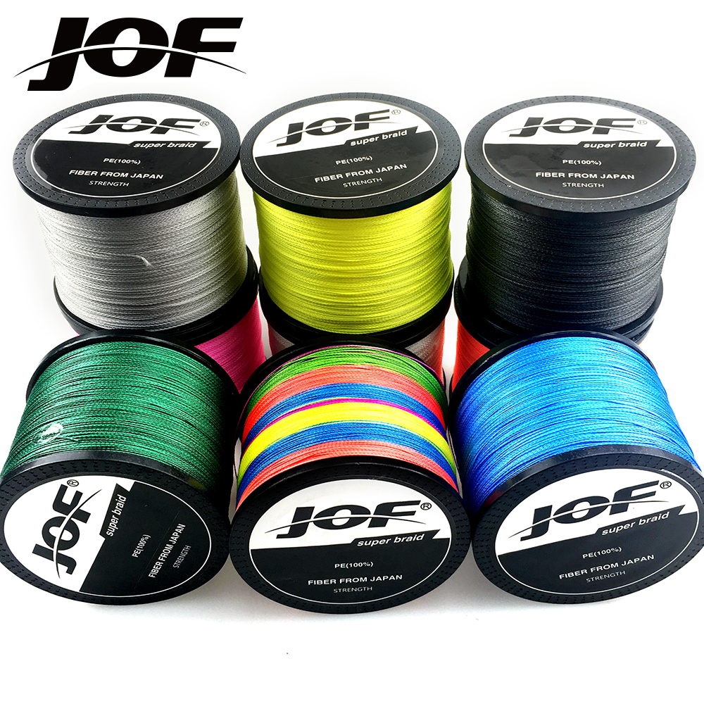 JOF Fishing Line Braided 4 STRANDS 1000M/500M/300M Super Strong Multifilament Fishing line Carp Fishing pesca 10LB-120LB