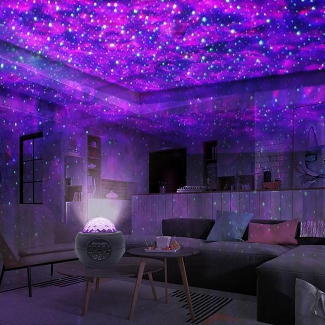 Colorful LED Star Light Projector Rotating Ocean Wave Night Lights Bluetooth Music USB Nebula Lamp Starry Sky Galaxy Light Decor