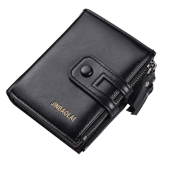 JINBAOLAI Men's Brand Wallet Double Zipper Buckle Design Small Wallet Men's High-Quality Short Card Holder Coin Purse Black