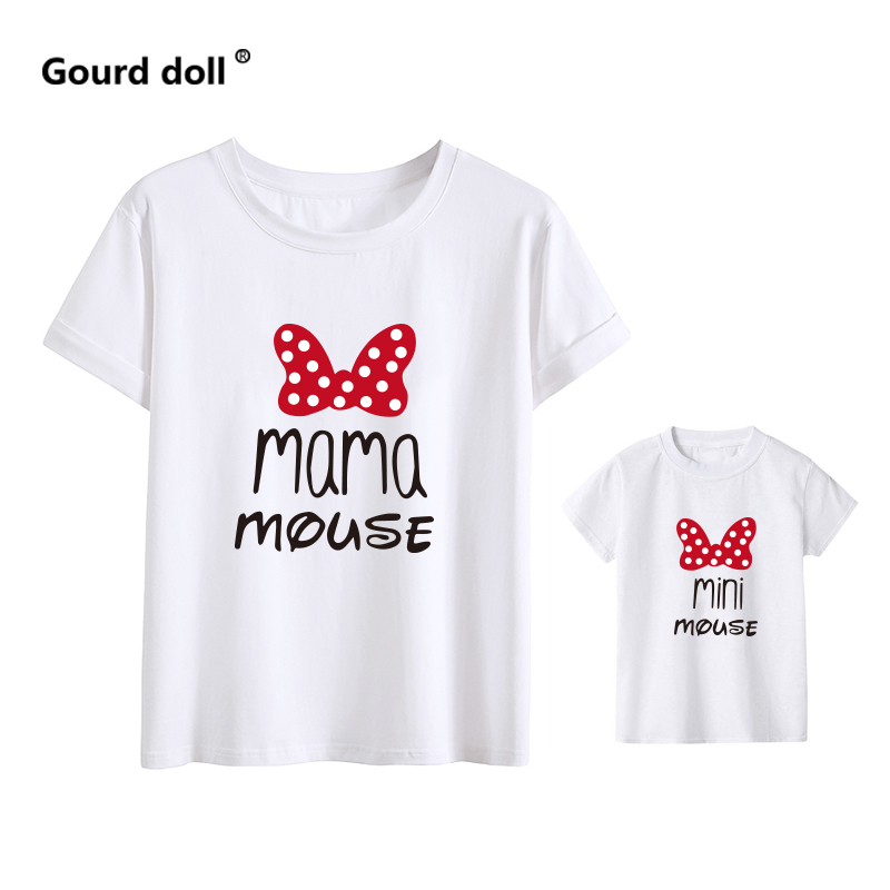 H4da871dbb3084fa9a830e3a7a9733d52G - MAMA and mini Family Matching clothes Cotton kawaii bow tshirt mommy and me clothes  Tops baby girl clothes matching outfits