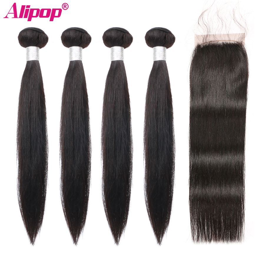 Straight Hair 4 Bundles With Closure Remy Malaysian Human Hair Bundles With Closure 4x4 Lace Closure Free Middle Three