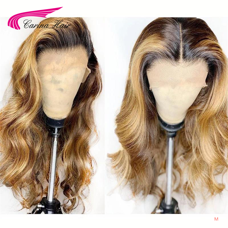 Carina Brazilian Body Wave 13X6 Lace Front Human Hair Wigs PrePlucked Honey Blonde Remy Ombre Color Glueless Wig 180density