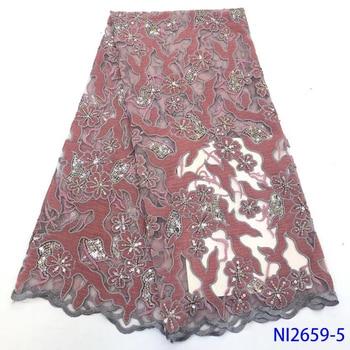 Velvet Lace Fabric High Quality Wedding Women African Lace Fabric For Nigerian African Lace Fabric 5yards NI2659