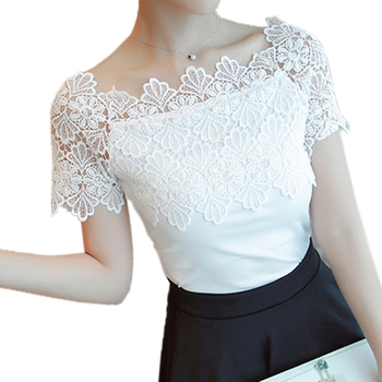 Women Lace Patchwork Blouse Shirt Casual Off Shoulder Top Sexy Short Sleeve White Blouse Ladies Summer Hollow Elegant Blouses lace panel flowy cold shoulder blouse