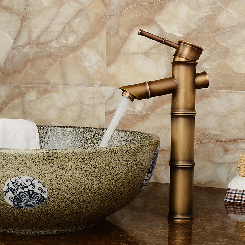 H4da8d2afaf814e30b8c9da1e4aeec6c8M Bathroom Basin Faucet Antique Brass Bamboo Shape Faucet Bronze Finish Sink Faucet Single Handle Hot and Cold Water Mixer Tap