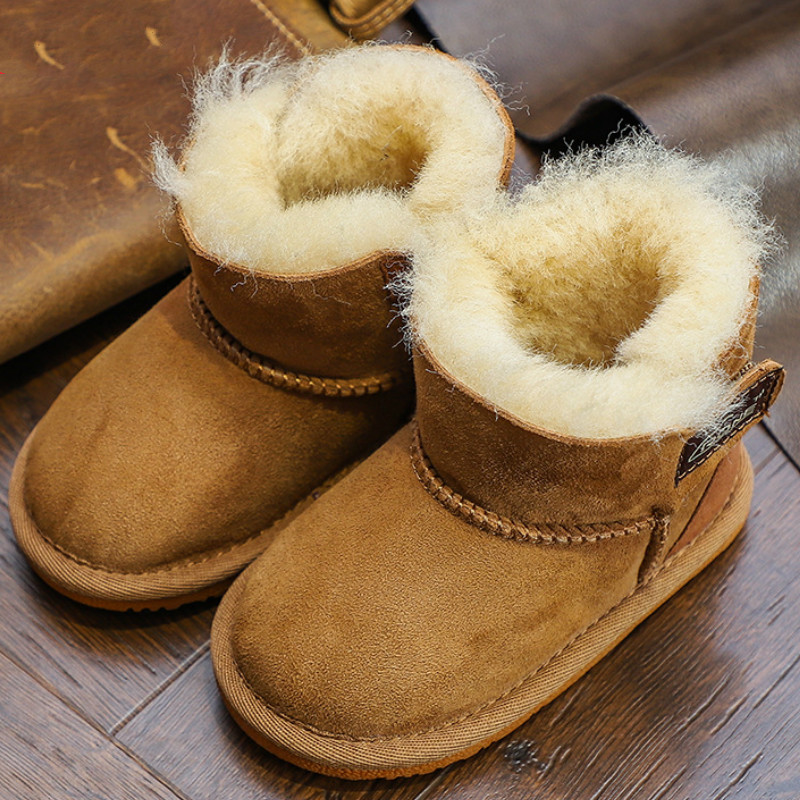 Winter Baby Girls Boys Snow Boots Warm Outdoor Children Boots Waterproof Non-slip Kids Fur Boots Infant Natural Wool Shoes