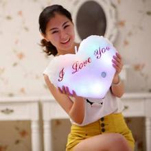 35CM Luminous Pillow HeartCushion Colorful Glowing Pillow Plush Doll Led Light Toys Gift For Girl Kids Christmas Birthday