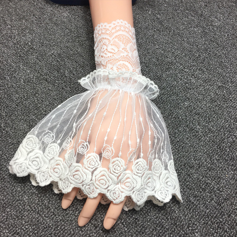 Women Fake Cuff Lace For Sweater Black Wedding False Sleeve Cuffs Princess Wrist Warmers Sweater Decorative Clothing Accessory