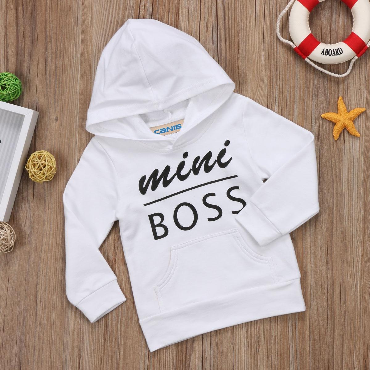 Newborn Kids Autumn Long Sleeve Sweatshirts Toddler Baby Boys Girls Mini Boss Printed Black White Hoodies Sweatshirt Tops 0-5T