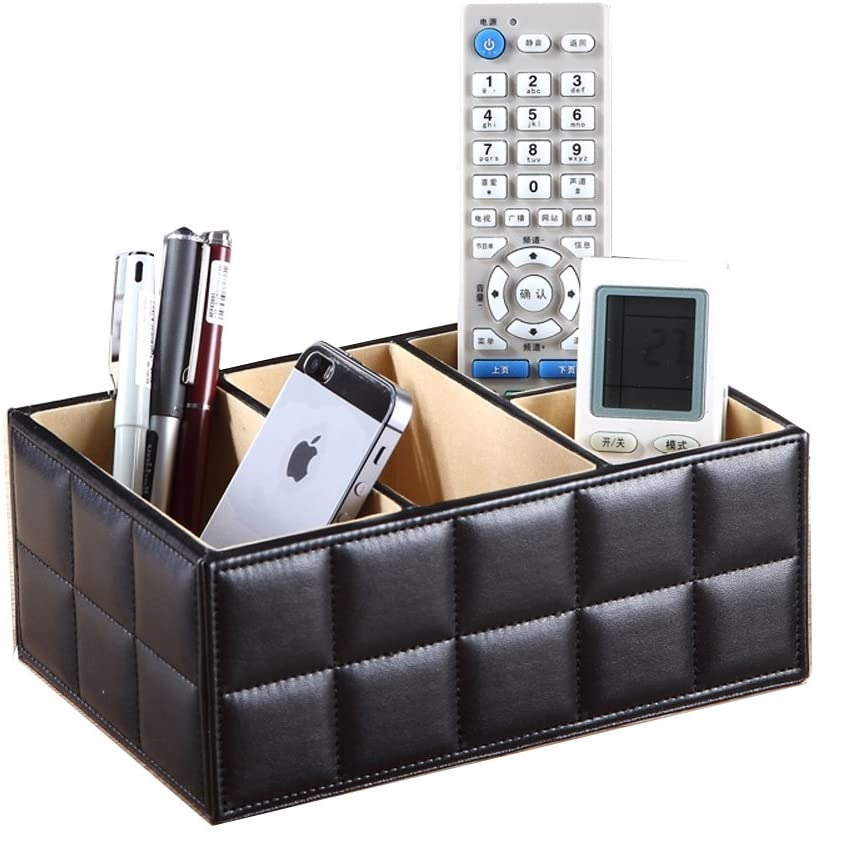 Wooden Leather Makeup Organizer Storage Boxes Make Up Organizer For Jewelry Cosmetics Brush Office Remote control storage holder(China)