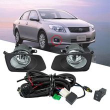 цена на For Toyota Corolla AXIO 2007 Car Fog Light Assembly Front Bumper Driving Fog Lamp With Cover H11 Bulbs Harness Wiring Switch