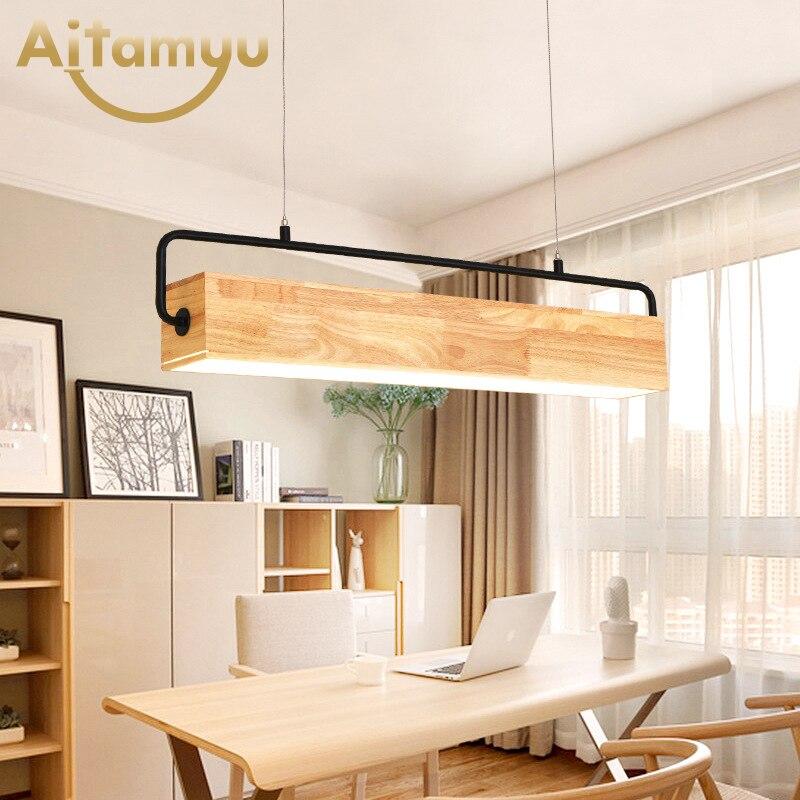 Wooden 220V Long Shaped LED Pendant Lights For Dining Room Wood Bar Hanging Lamp Restaurant Suspension Lighting Fixtures|Pendant Lights|   - title=