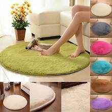 Hot Sale 40cm Round Bathroom Bedroom Coral Fleece Soft Non-slip Floor Mat Rug Home Decor(China)