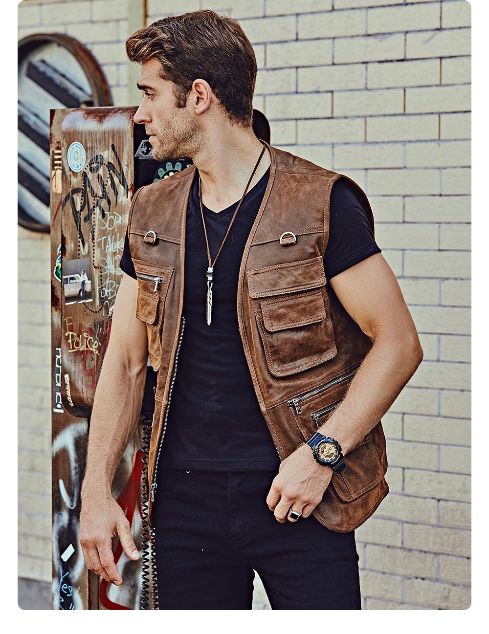 H4da9a6146b2743568ba1808559463fd2i FLAVOR New Men's Real Leather Vest Men's Motorcycle Fishing Outdoor Travel Vests