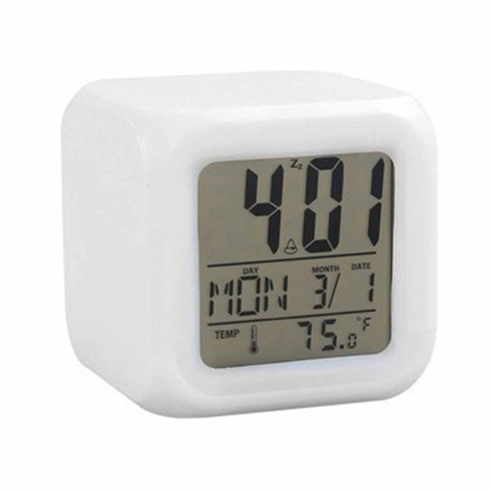 Portable Lovely Fashion 7 Colors Change Square Digital Alarm Clock with LCD Screen Display Luminous Mode Home Office Use