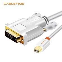 CABLETIME Thunderbolt Mini Displayport Mini DP vers DVI convertisseur de câble pour MacBook Pro AiMini TV adaptateur de projecteur dordinateur portable N014