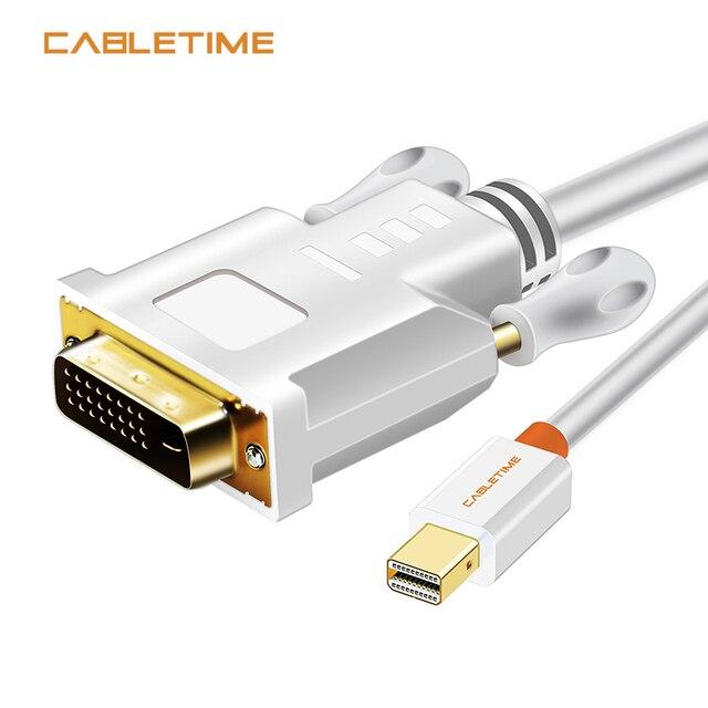 Cabo conversor dp para dvi cabletime thunderbolt, mini exibição, adaptador para macbook pro aimini tv, laptop e projetor n014