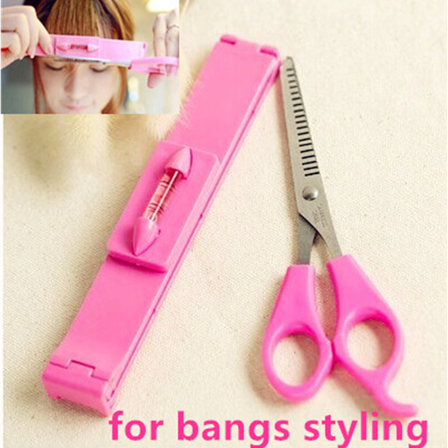 hairstylist Bangs Hair Cutting Clip Comb + hair Bangs Scissors Hair style  styling cutting hairdressing Trimmer scissors shears