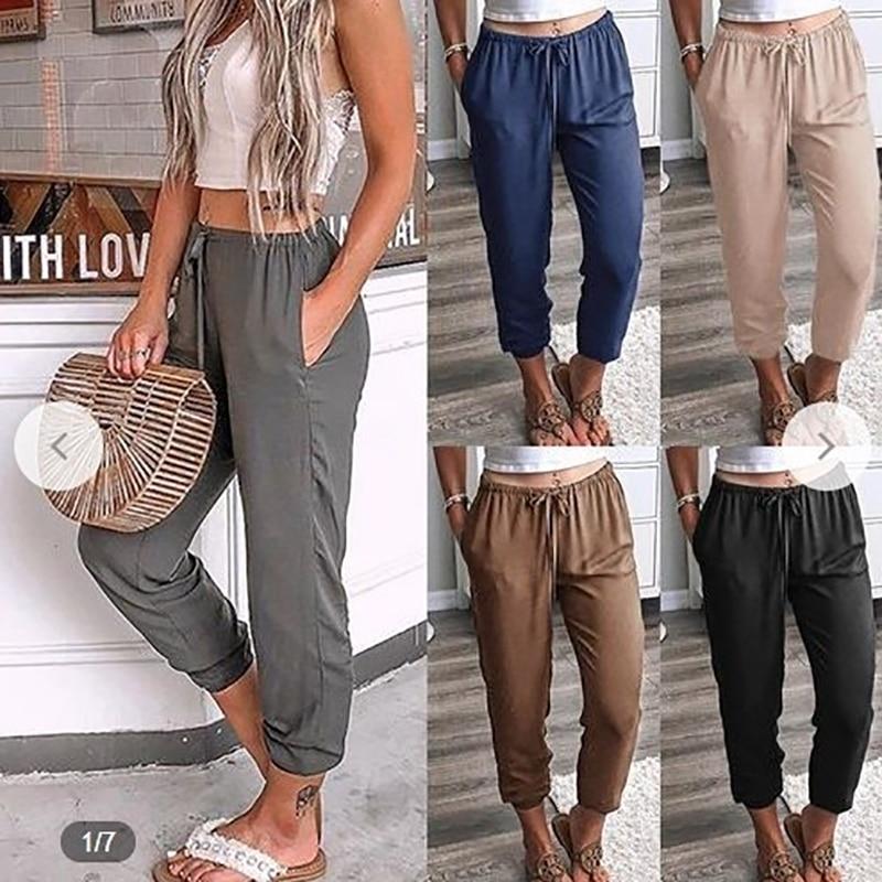 Women Solid Color Lacing Nine Pants Low Waist Casual Pants Leisure Slim Sports Leggings Girl Leggings Jeggings Legins O5A074