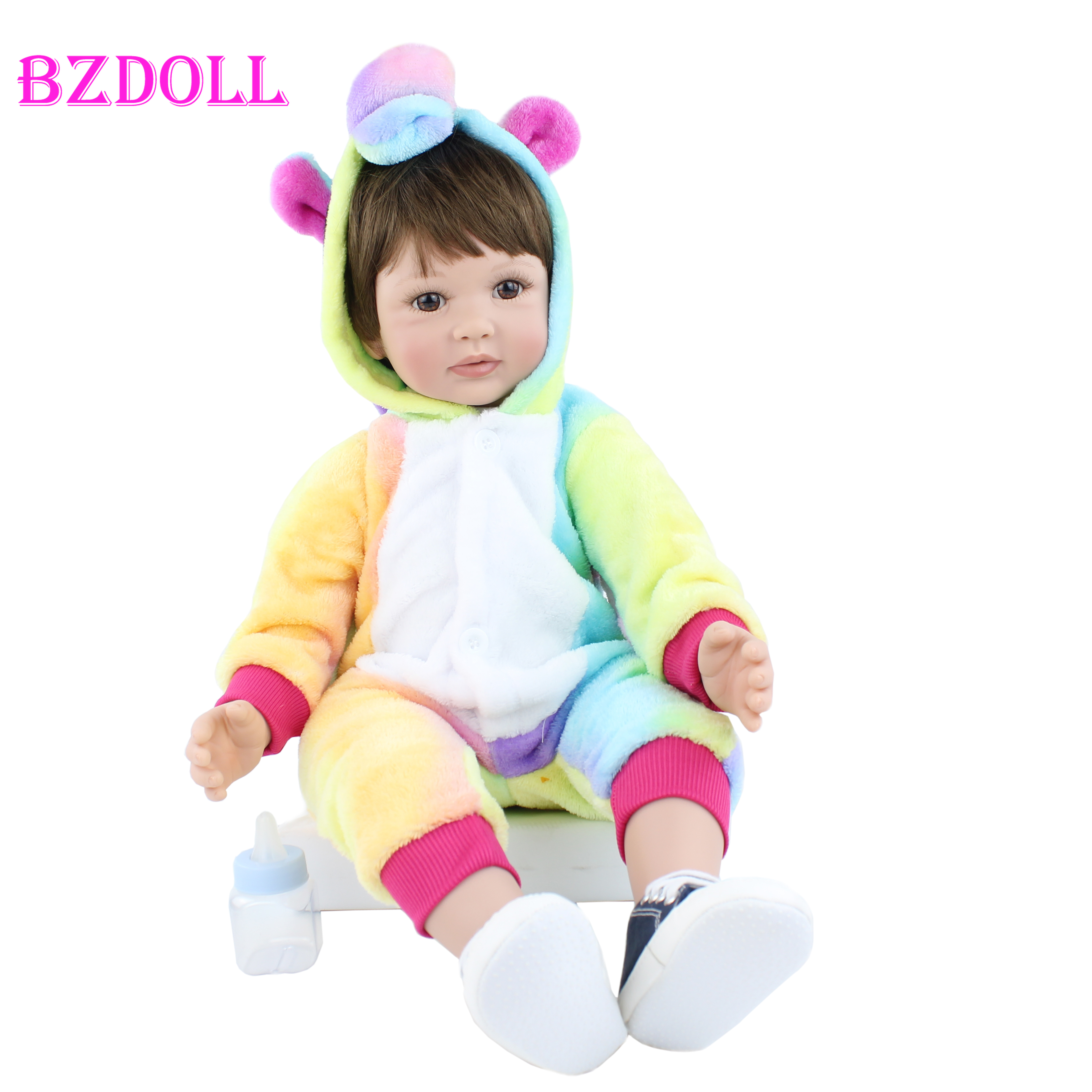 60CM Silicone Reborn Boy Doll Like Real Vinyl Toddler Babies For Girl Realistic High-end Collectible Artwork Dress Up Bebe
