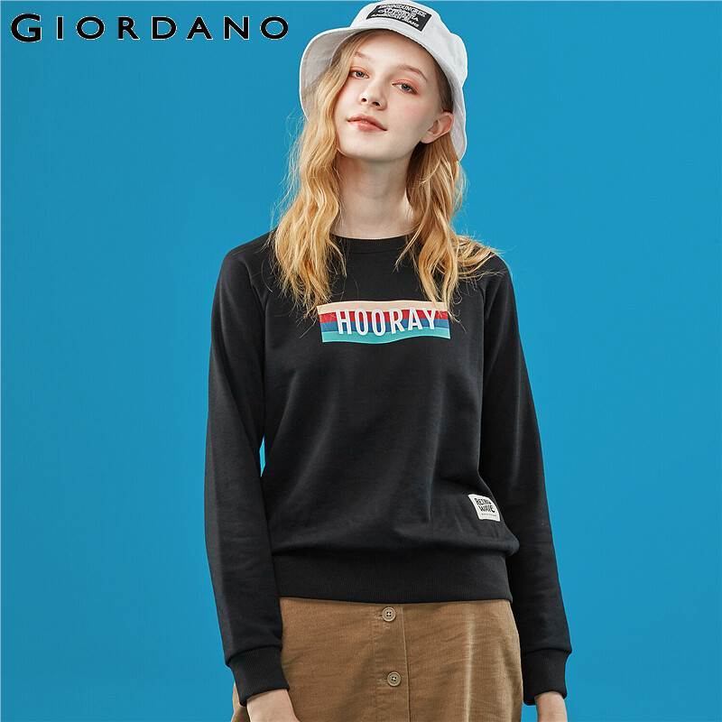 Giordano Women Sweatshirt Raglan Sleeve Terry Clothes Fashion Young Lady Pullover Printed Sudadera Mujer Vintage 13399701