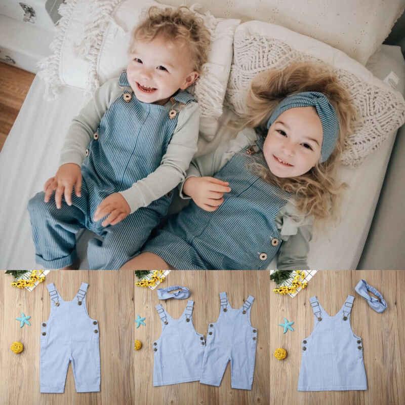 2020 irmã meninas calças de brim calças compridas sólida criança crianças bebê menino roupas macacão cintura elástica roupas infantis
