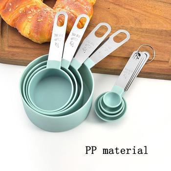4PcsMulti celu łyżki kubek narzędzia pomiarowe PP akcesoria do pieczenia ze stali nierdzewnej uchwyt z tworzywa sztucznego kuchnia gadżety tanie i dobre opinie CN (pochodzenie) Wielofunkcyjny Zestaw 4 Sztuk zestaw
