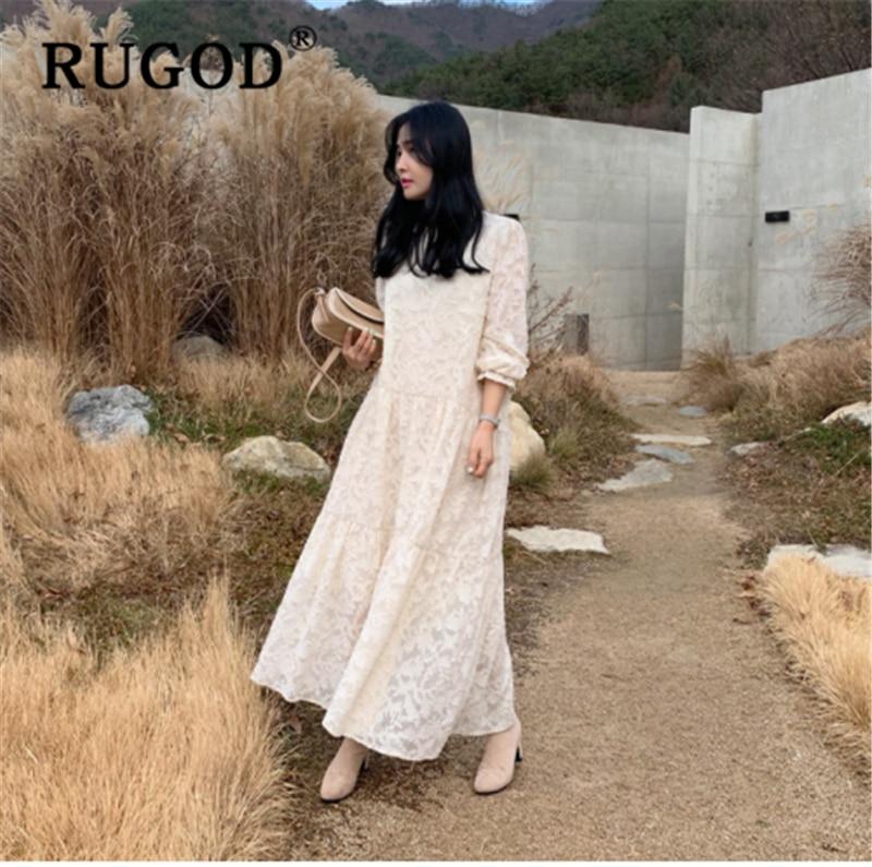 RUGOD 2020 Spring Elegant Women Dress Fashion Lace Lace Crochet Flower Loose Long Dresses Vestido Ruffle Flare Sleeve Maxi Dress
