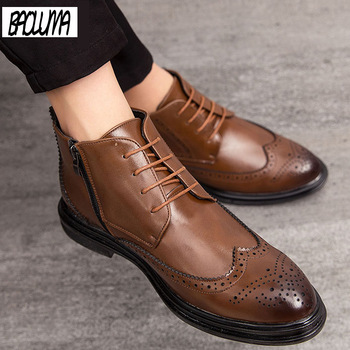 Luxurious Men Boots Brand New Men Ankle Boots Quality Leather Men's Dress  Shoes Lace-UP Oxford Formal Shoes Wedding Shoes 38-46-Leather bag