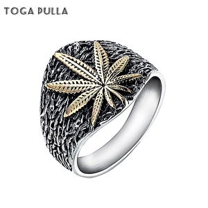 Мужское Винтажное кольцо в стиле панк, черное, серебряное, Золотое кольцо из нержавеющей стали с Кленовым листом, готическое Ювелирное Укра...