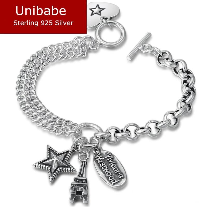 925 Bracelet tour Eiffel en argent Sterling femme rétro S925 Bracelet (FGL)