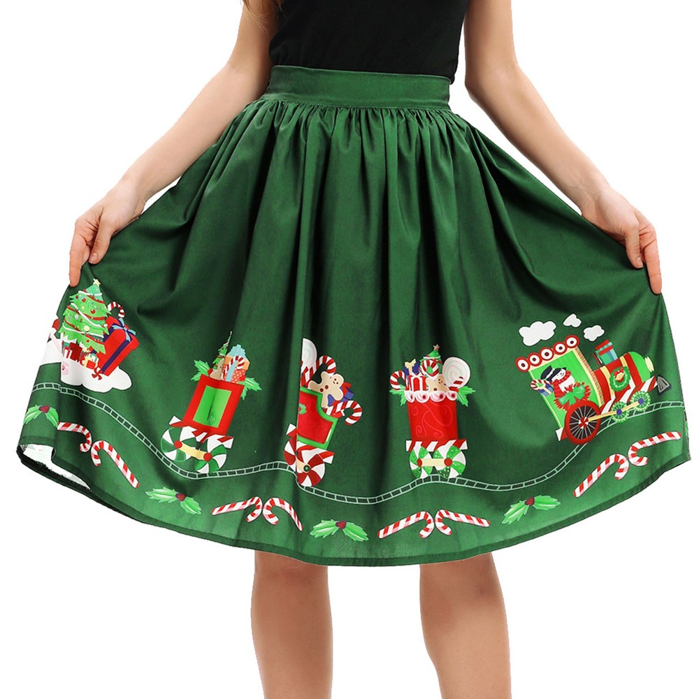 Women Christmas Skirt Sexy Santa Print Flare Elastic High Waist Cosplay Ball Gown Skirt Wild Christmas party for Women Girls