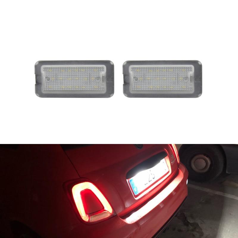 Светодиодные лампы для номерного знака Fiat 500 / Abarth 500, 2 шт., без ошибок, 2007, 2008, 2009, 2010, 2011, 2012, 2013, 2014, 2015, 2016