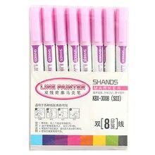 8 шт Двойная Линия контурная ручка цветной маркер ручка студенческий маркер Канцелярский набор L5#4