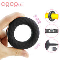 Penis Ring Vibrators Silicone Cock Ring Delay Ejaculation Erection Vibrating Lock Ring Penis Long Lasting Erotic Sex Toy for Men