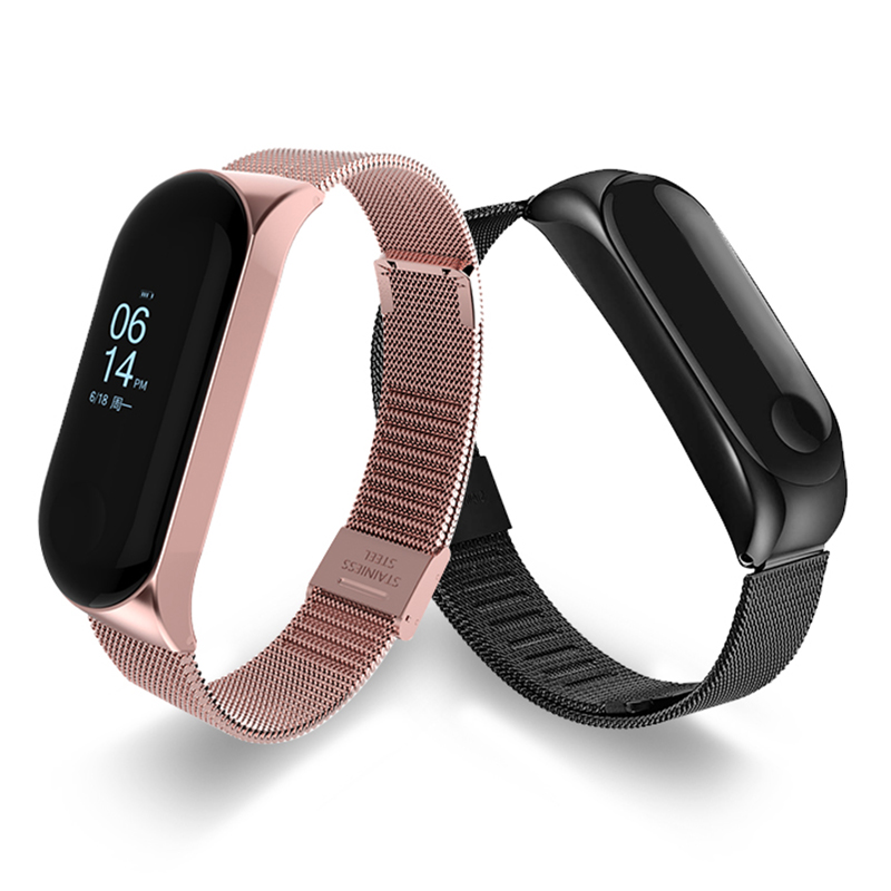Fashion Wrist Band Bracelet Strap For Xiaomi Mi Band 3 MiBand 4 Strap Metal Bracelet Stainless Steel Wrist Strap Optional Color