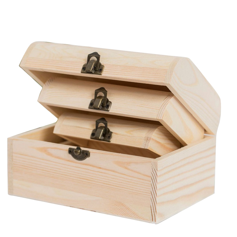 3Pcs Unfinished Wooden Chest Jewelry Storage Box Case DIY Home Decorations