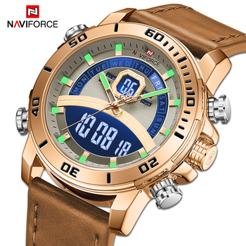 NAVIFORCE Men Sport Watches Military Luminous Digital Quartz Wristwatch Male Luxury Gold 3ATM Waterproof Clock Relogio Masculino luxury carnival tritium luminous t25 men s watches quartz military men 200m diver waterproof wristwatch