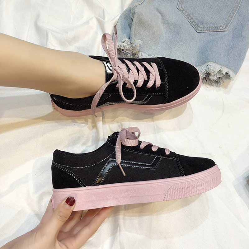 SHOFORT Women's Canvas Shoes Fashion Vulcanize Shoes Basic Wild Chic Flat Bottom Shoes Casual Low Lace-up Sneakers Female Ladies