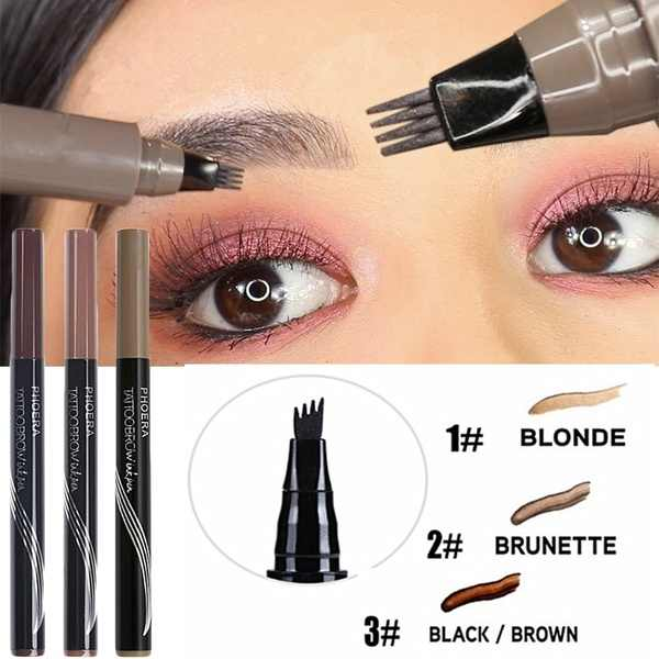 Microblading Wenkbrauw Tattoo Pen 4 Hoofd Vork Tip Wenkbrauw Kleurstof Tint Potlood Waterproof Langdurige Wenkbrauw Shaper Make-Up Tool