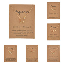 12 Constellation Necklaces Pendant Charm Zodiac Sign Crystal Choker Necklaces Women Friends Birthday Wish Card Jewelry Gift