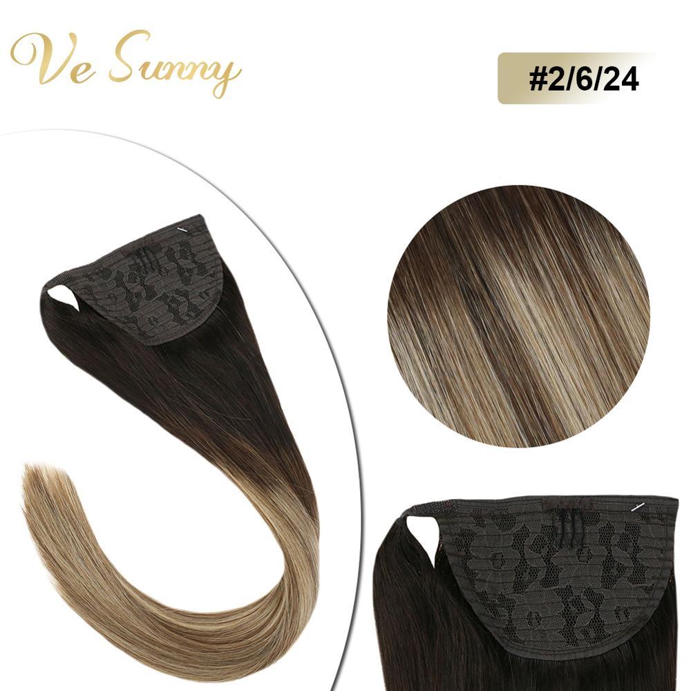 VeSunny Ponytail Extensions Wrap Around Magic Tape 100% Human Hair Balayage Brown And Blonde #2/6/24